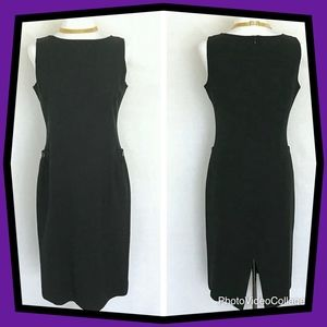 Paul Stuart Black Sleeveless Midi Sheath Dress